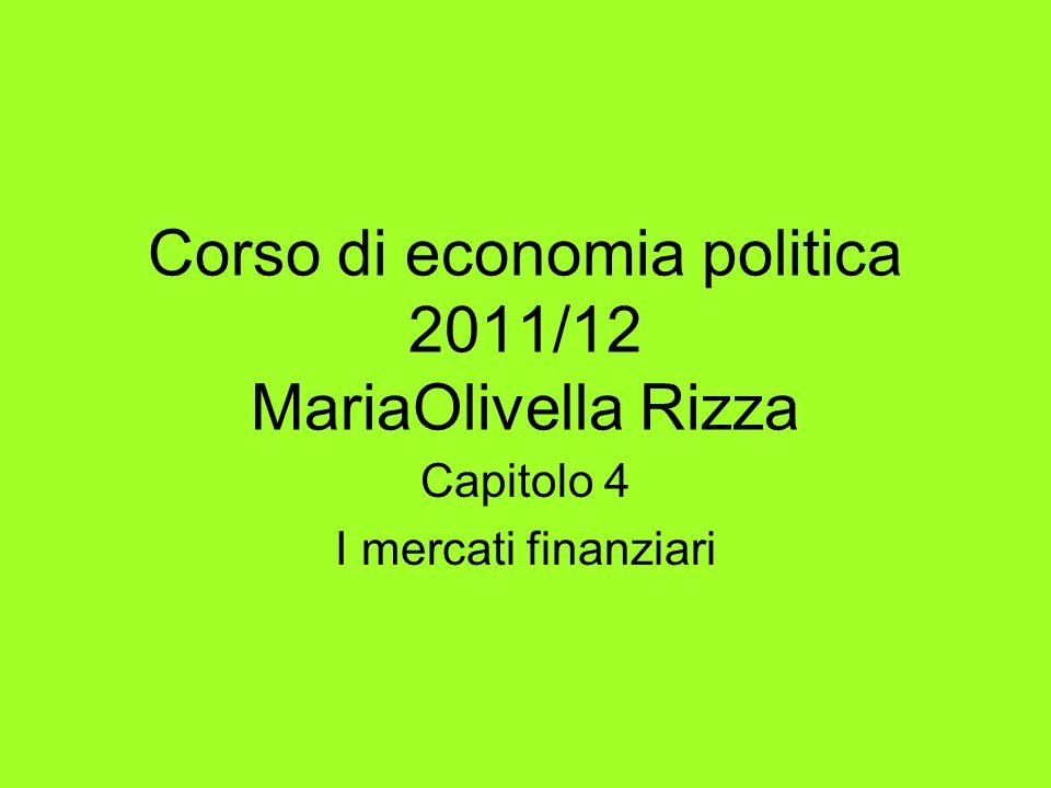 Corso di economia politica 2011/12 MariaOlivella Rizza Capitolo 4 I mercati finanziari