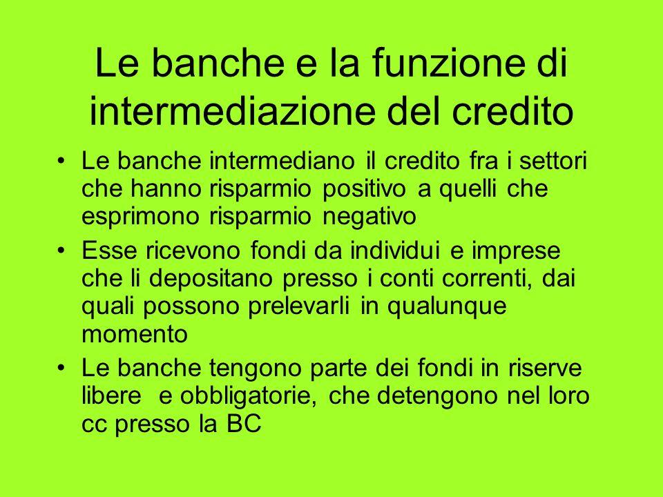 Le banche e la funzione di intermediazione del credito Le banche intermediano il credito fra i settori che hanno risparmio positivo a quelli che espri