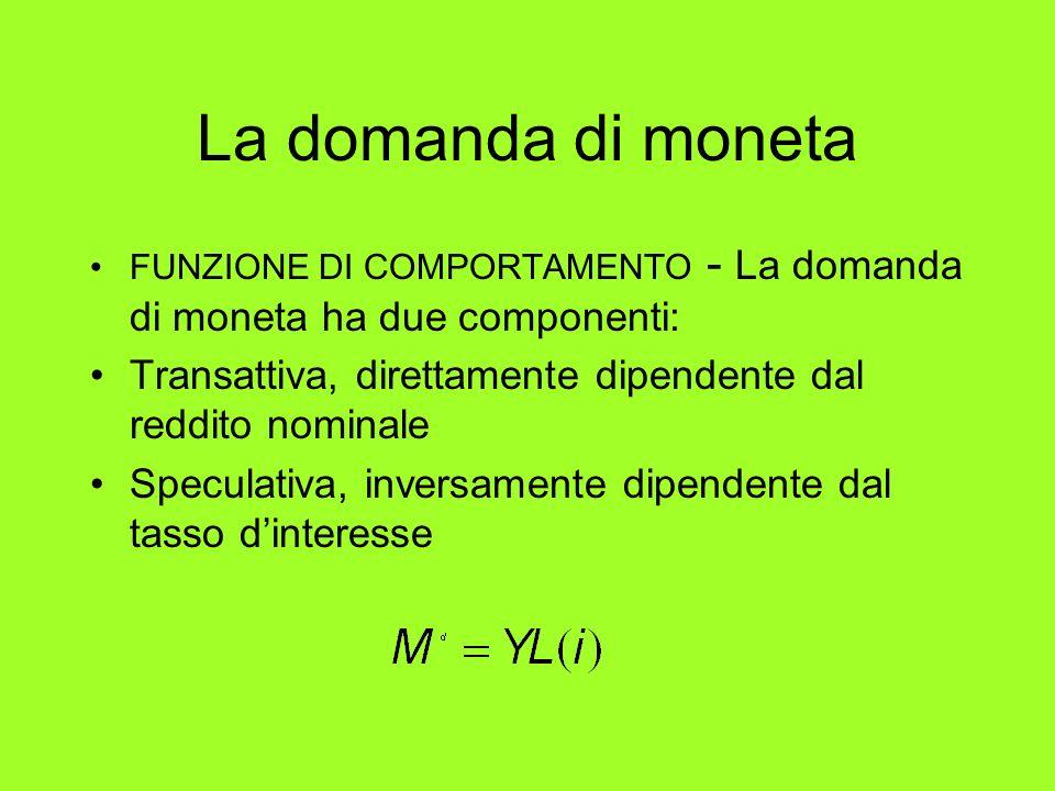 La domanda di moneta FUNZIONE DI COMPORTAMENTO - La domanda di moneta ha due componenti: Transattiva, direttamente dipendente dal reddito nominale Spe