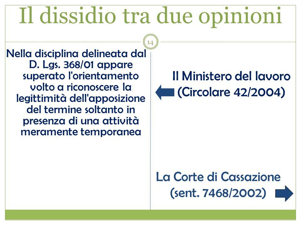 14 Il dissidio tra due opinioni Nella disciplina delineata dal D. Lgs. 368/01 appare superato l'orientamento volto a riconoscere la legittimità dell'a