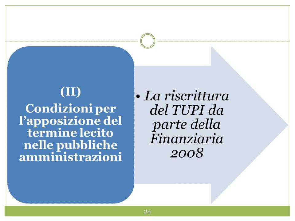 24 La riscrittura del TUPI da parte della Finanziaria 2008 (II) Condizioni per lapposizione del termine lecito nelle pubbliche amministrazioni