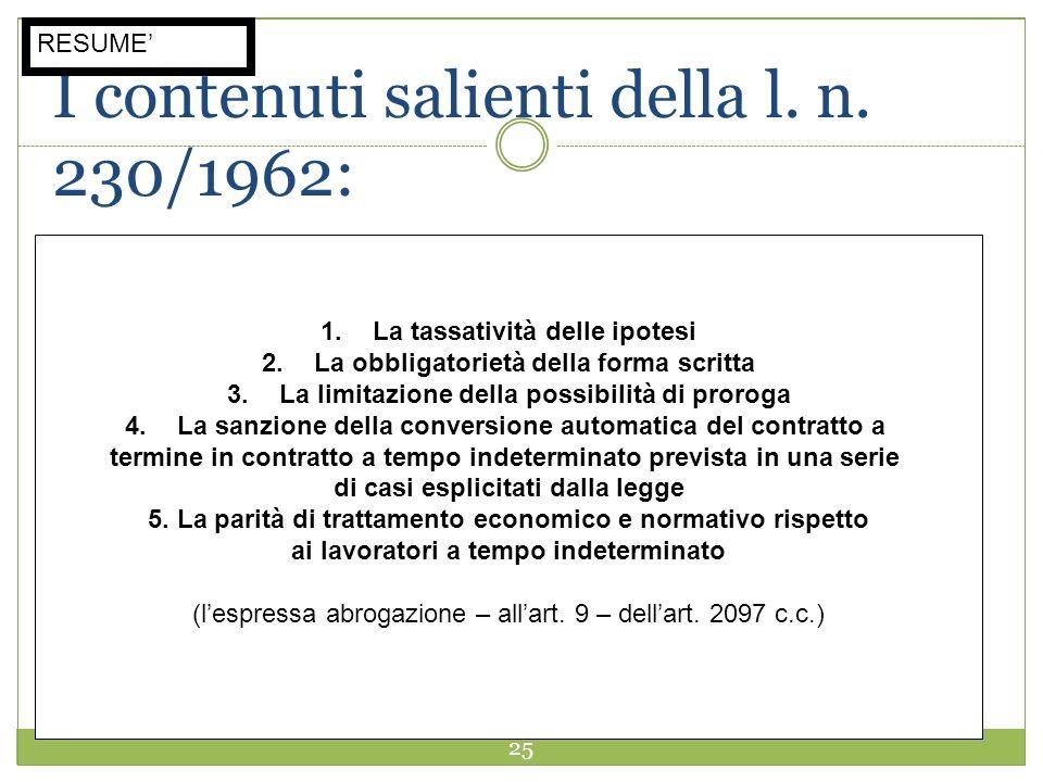25 I contenuti salienti della l. n. 230/1962: 1.La tassatività delle ipotesi 2.La obbligatorietà della forma scritta 3.La limitazione della possibilit