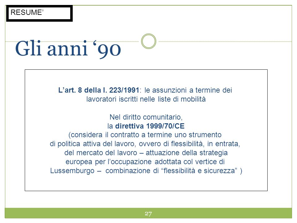 27 Gli anni 90 Lart. 8 della l. 223/1991: le assunzioni a termine dei lavoratori iscritti nelle liste di mobilità Nel diritto comunitario, la direttiv