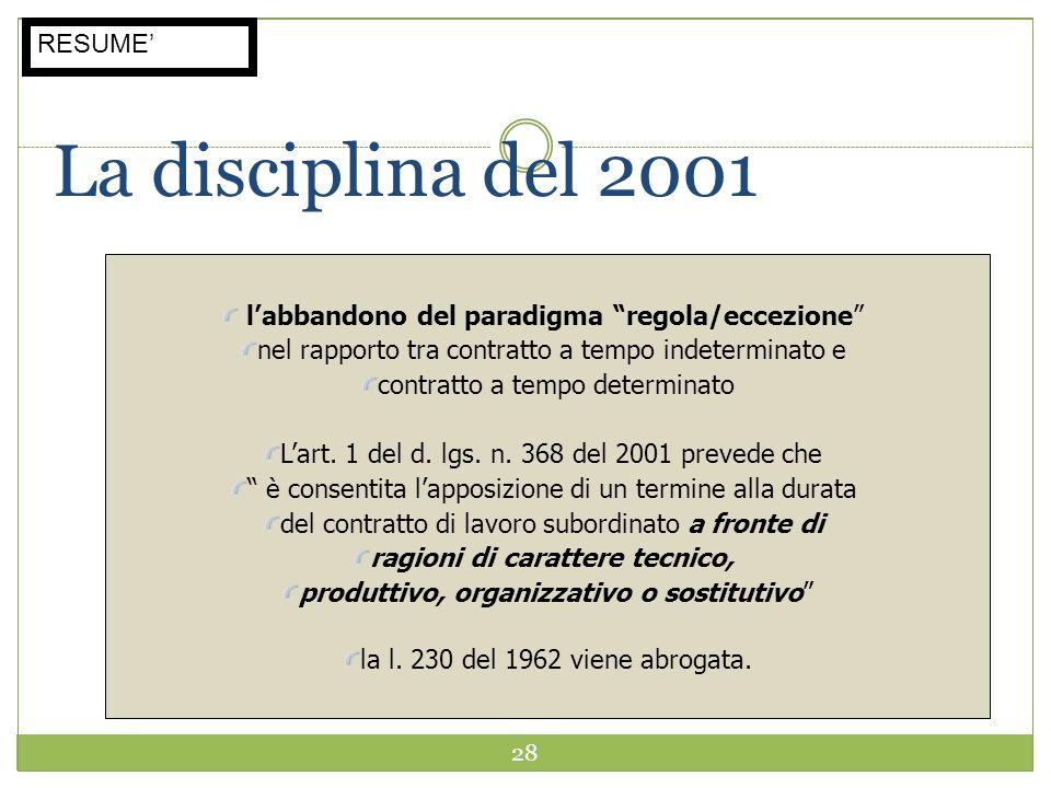 28 La disciplina del 2001 labbandono del paradigma regola/eccezione nel rapporto tra contratto a tempo indeterminato e contratto a tempo determinato L
