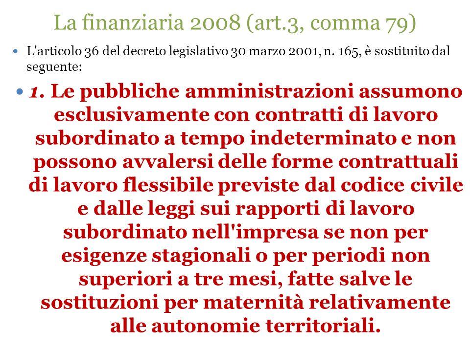 La finanziaria 2008 (art.3, comma 79) L'articolo 36 del decreto legislativo 30 marzo 2001, n. 165, è sostituito dal seguente: 1. Le pubbliche amminist