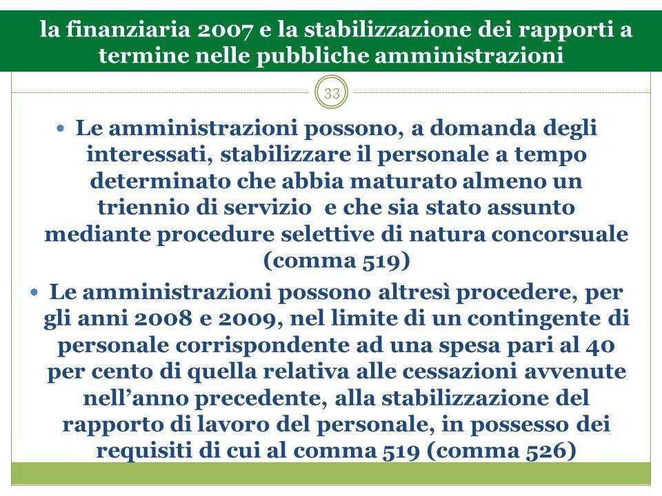 33 la finanziaria 2007 e la stabilizzazione dei rapporti a termine nelle pubbliche amministrazioni Le amministrazioni possono, a domanda degli interes