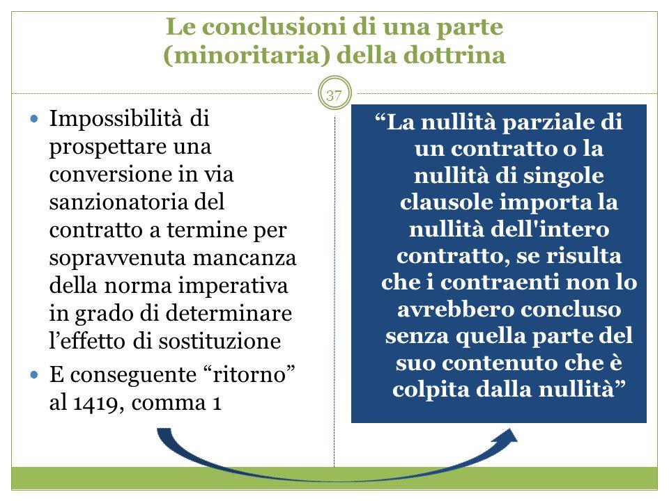37 Le conclusioni di una parte (minoritaria) della dottrina Impossibilità di prospettare una conversione in via sanzionatoria del contratto a termine