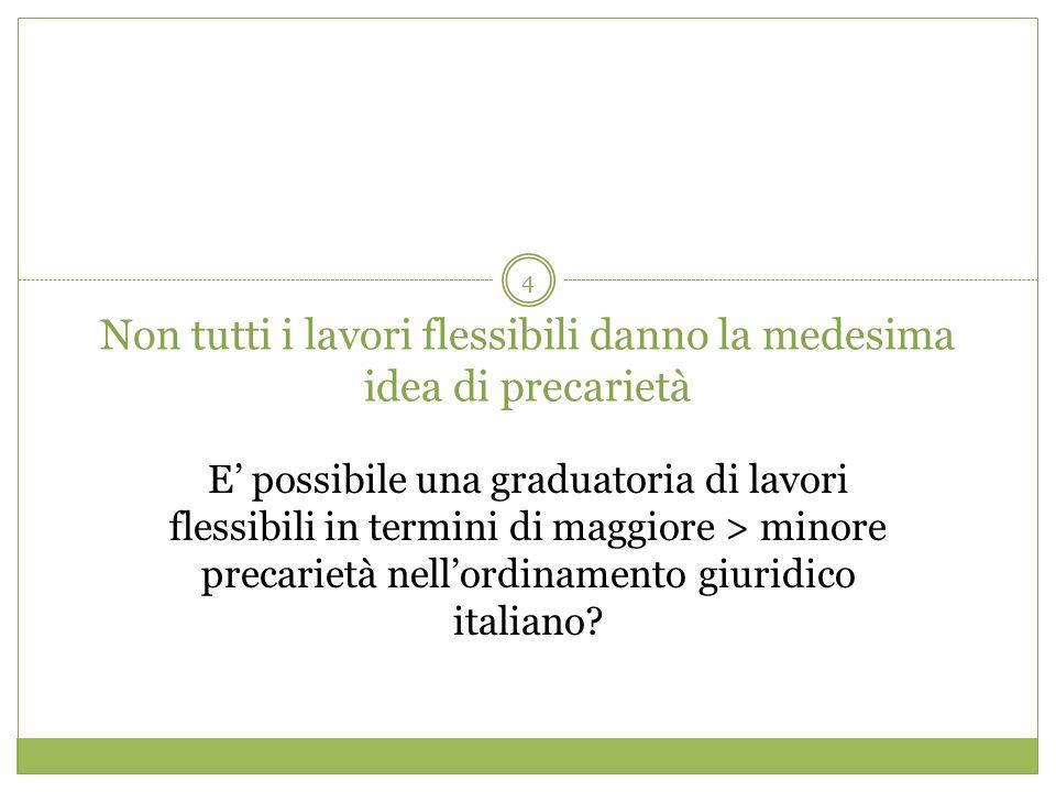 4 Non tutti i lavori flessibili danno la medesima idea di precarietà E possibile una graduatoria di lavori flessibili in termini di maggiore > minore precarietà nellordinamento giuridico italiano