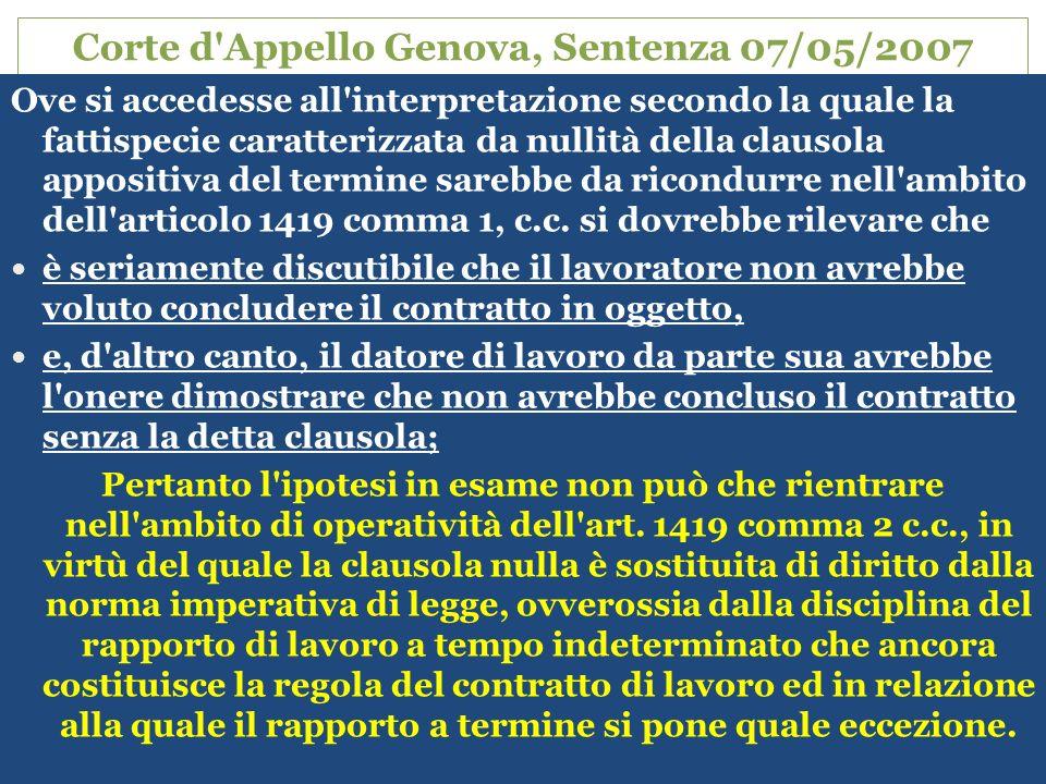 41 Corte d Appello Genova, Sentenza 07/05/2007 Ove si accedesse all interpretazione secondo la quale la fattispecie caratterizzata da nullità della clausola appositiva del termine sarebbe da ricondurre nell ambito dell articolo 1419 comma 1, c.c.