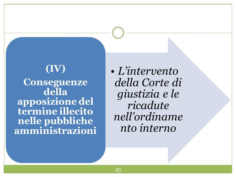 43 Lintervento della Corte di giustizia e le ricadute nellordiname nto interno (IV) Conseguenze della apposizione del termine illecito nelle pubbliche amministrazioni
