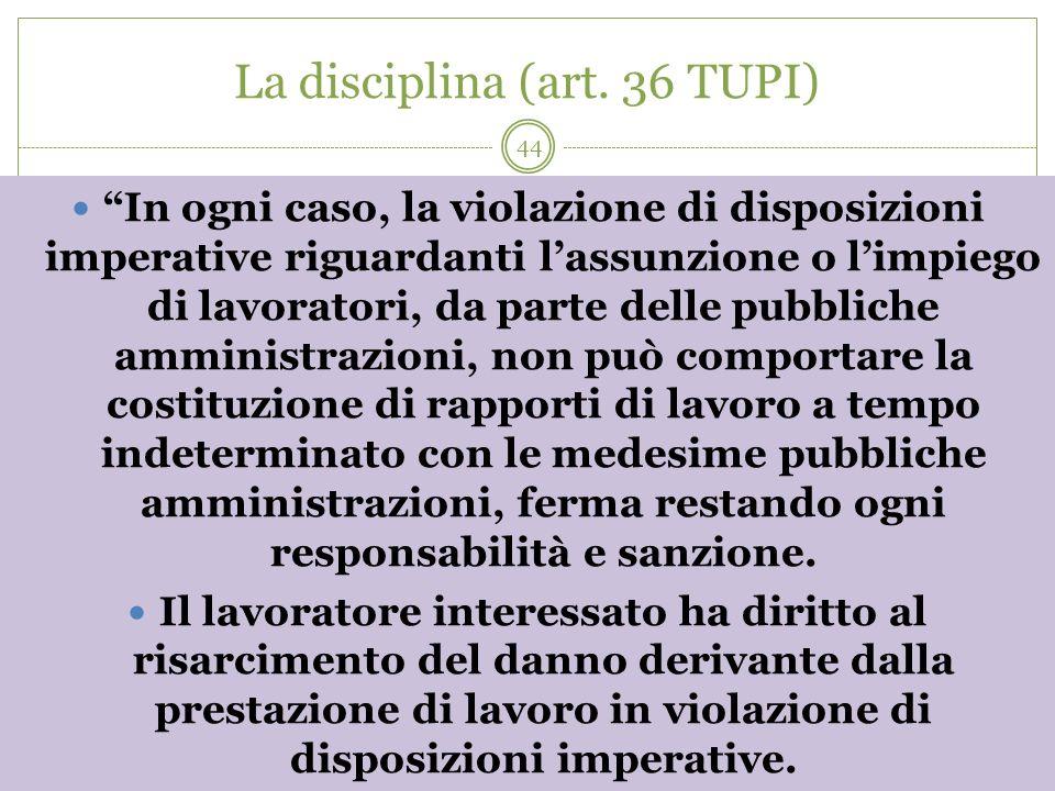 44 La disciplina (art. 36 TUPI) In ogni caso, la violazione di disposizioni imperative riguardanti lassunzione o limpiego di lavoratori, da parte dell