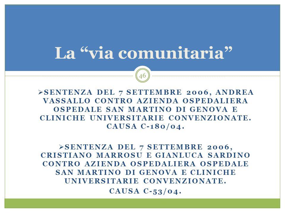 46 SENTENZA DEL 7 SETTEMBRE 2006, ANDREA VASSALLO CONTRO AZIENDA OSPEDALIERA OSPEDALE SAN MARTINO DI GENOVA E CLINICHE UNIVERSITARIE CONVENZIONATE. CA