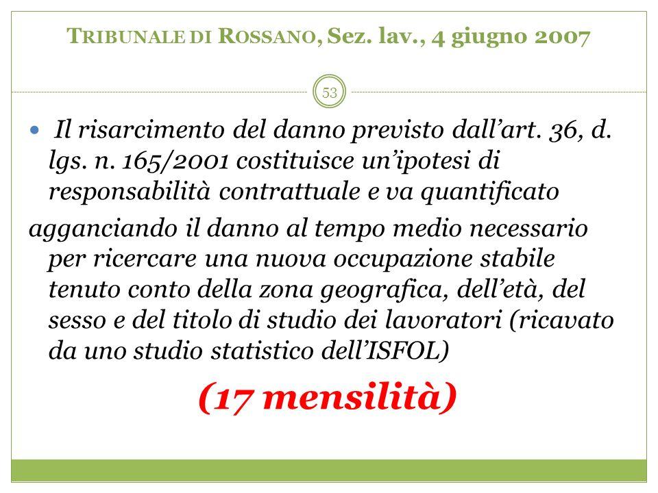 53 T RIBUNALE DI R OSSANO, Sez. lav., 4 giugno 2007 Il risarcimento del danno previsto dallart. 36, d. lgs. n. 165/2001 costituisce unipotesi di respo
