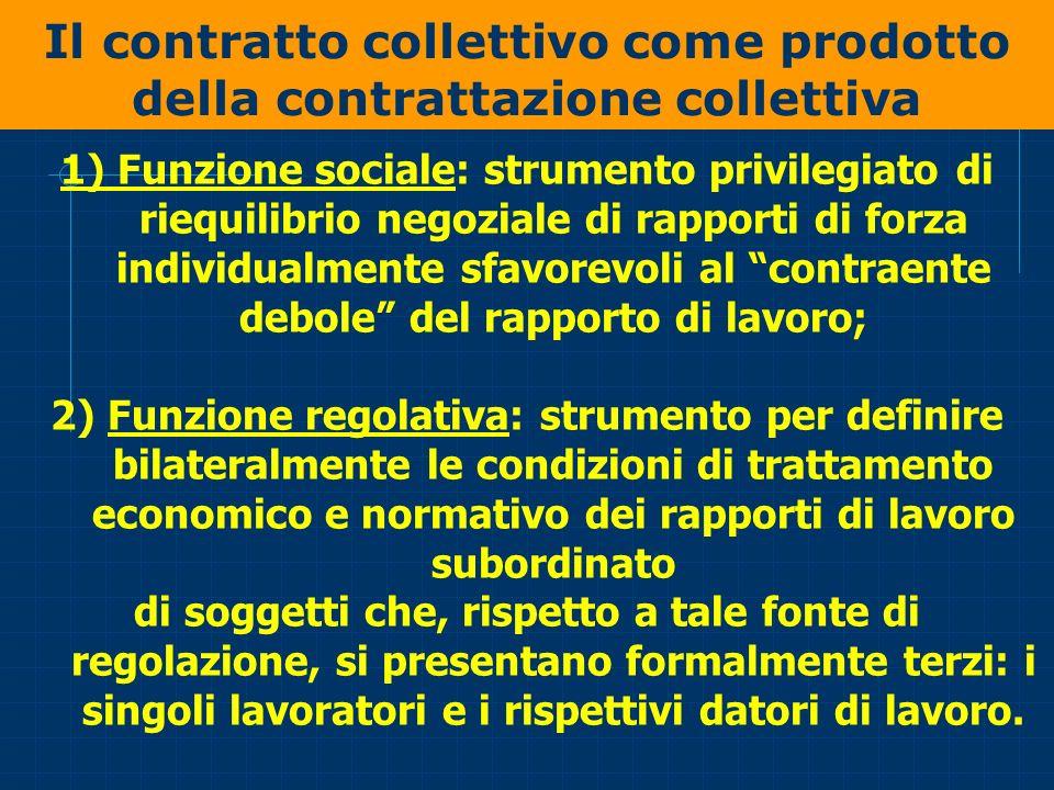 Il contratto collettivo come prodotto della contrattazione collettiva 1) Funzione sociale: strumento privilegiato di riequilibrio negoziale di rapport