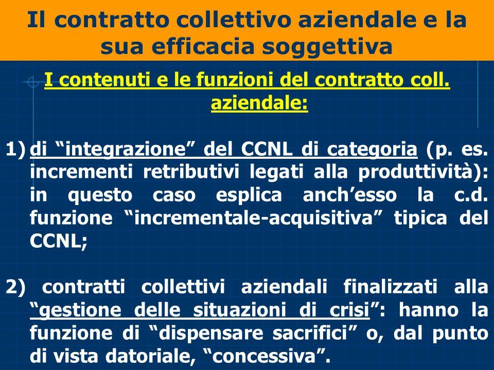 Il contratto collettivo aziendale e la sua efficacia soggettiva I contenuti e le funzioni del contratto coll. aziendale: 1)di integrazione del CCNL di