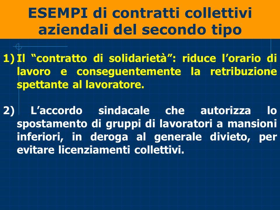 ESEMPI di contratti collettivi aziendali del secondo tipo 1)Il contratto di solidarietà: riduce lorario di lavoro e conseguentemente la retribuzione s