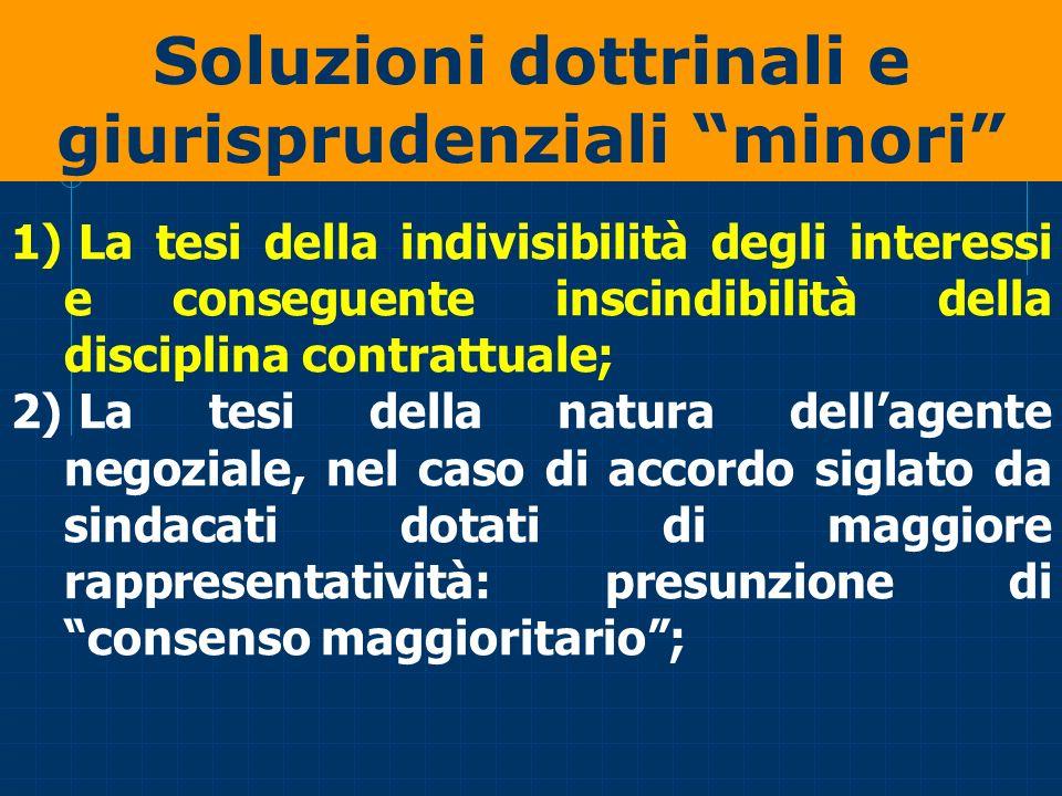 Soluzioni dottrinali e giurisprudenziali minori 1) La tesi della indivisibilità degli interessi e conseguente inscindibilità della disciplina contratt