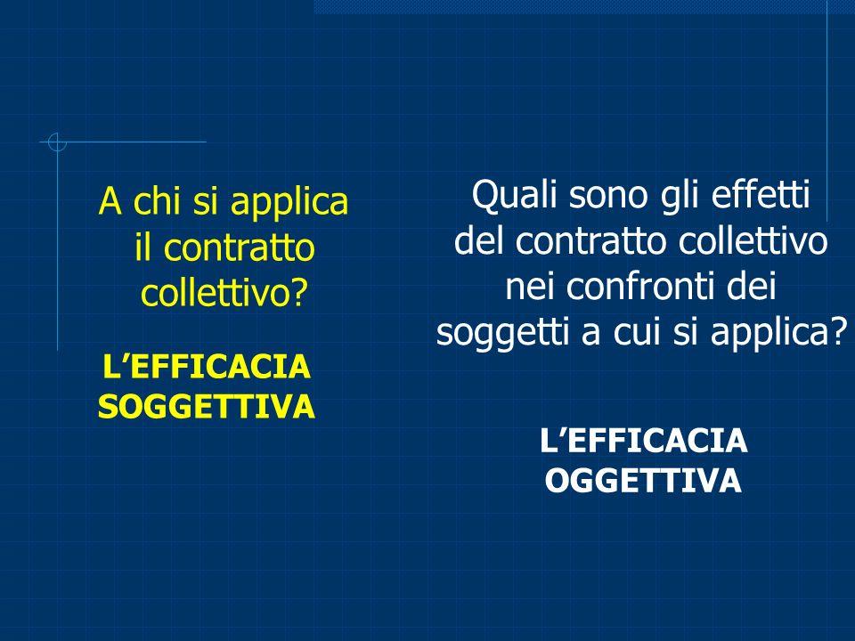 A chi si applica il contratto collettivo? Quali sono gli effetti del contratto collettivo nei confronti dei soggetti a cui si applica? LEFFICACIA SOGG