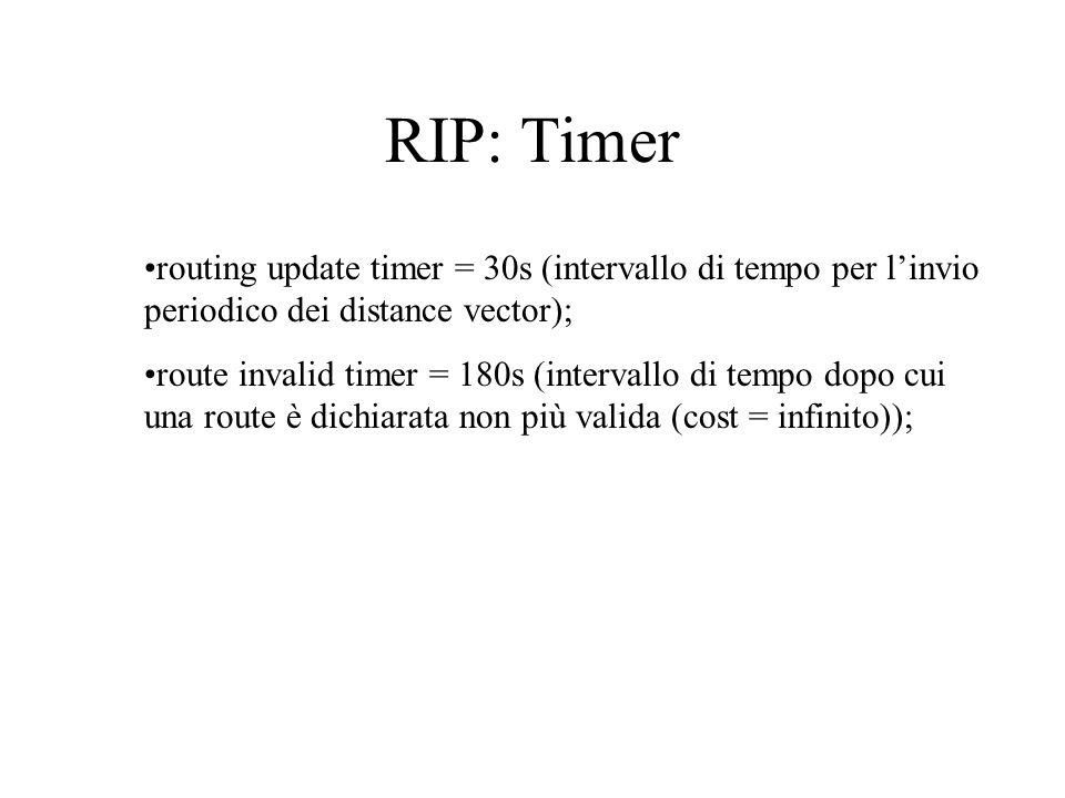 RIP: Timer routing update timer = 30s (intervallo di tempo per linvio periodico dei distance vector); route invalid timer = 180s (intervallo di tempo