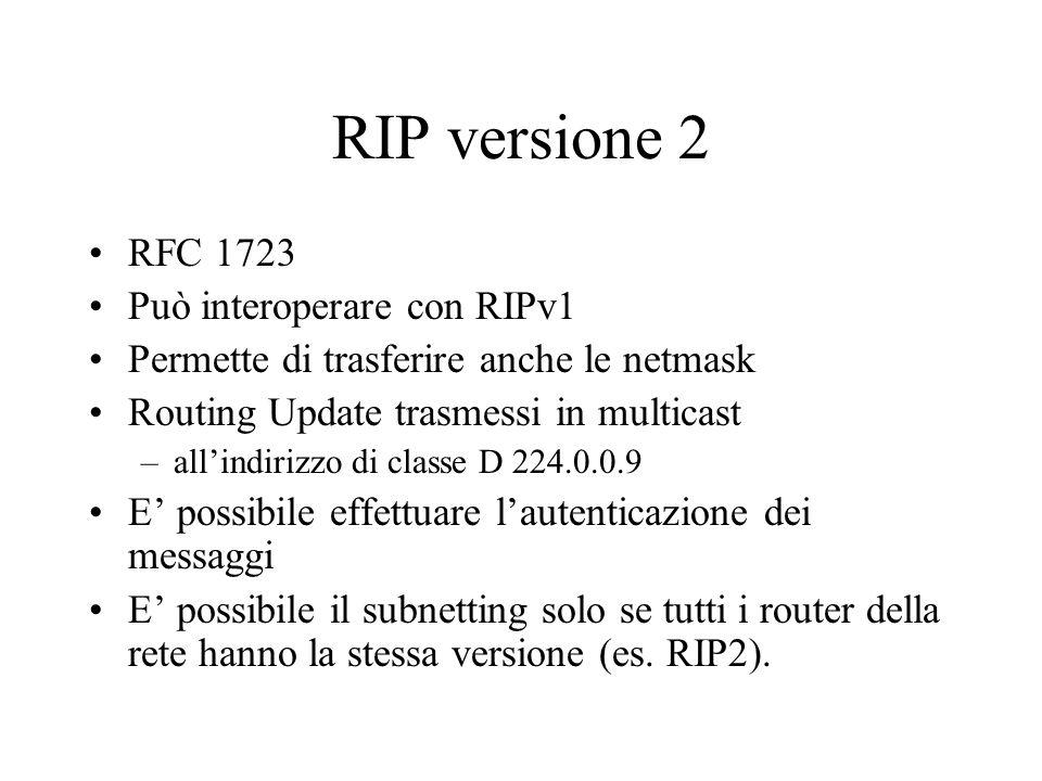 RIP versione 2 RFC 1723 Può interoperare con RIPv1 Permette di trasferire anche le netmask Routing Update trasmessi in multicast –allindirizzo di clas