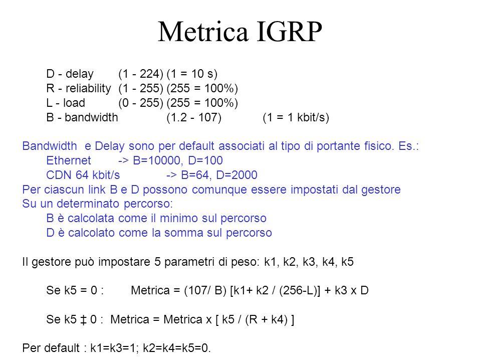 D - delay (1 - 224)(1 = 10 s) R - reliability (1 - 255)(255 = 100%) L - load(0 - 255)(255 = 100%) B - bandwidth (1.2 - 107)(1 = 1 kbit/s) Bandwidth e