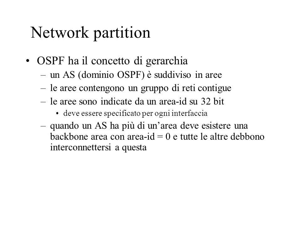 Network partition OSPF ha il concetto di gerarchia –un AS (dominio OSPF) è suddiviso in aree –le aree contengono un gruppo di reti contigue –le aree s