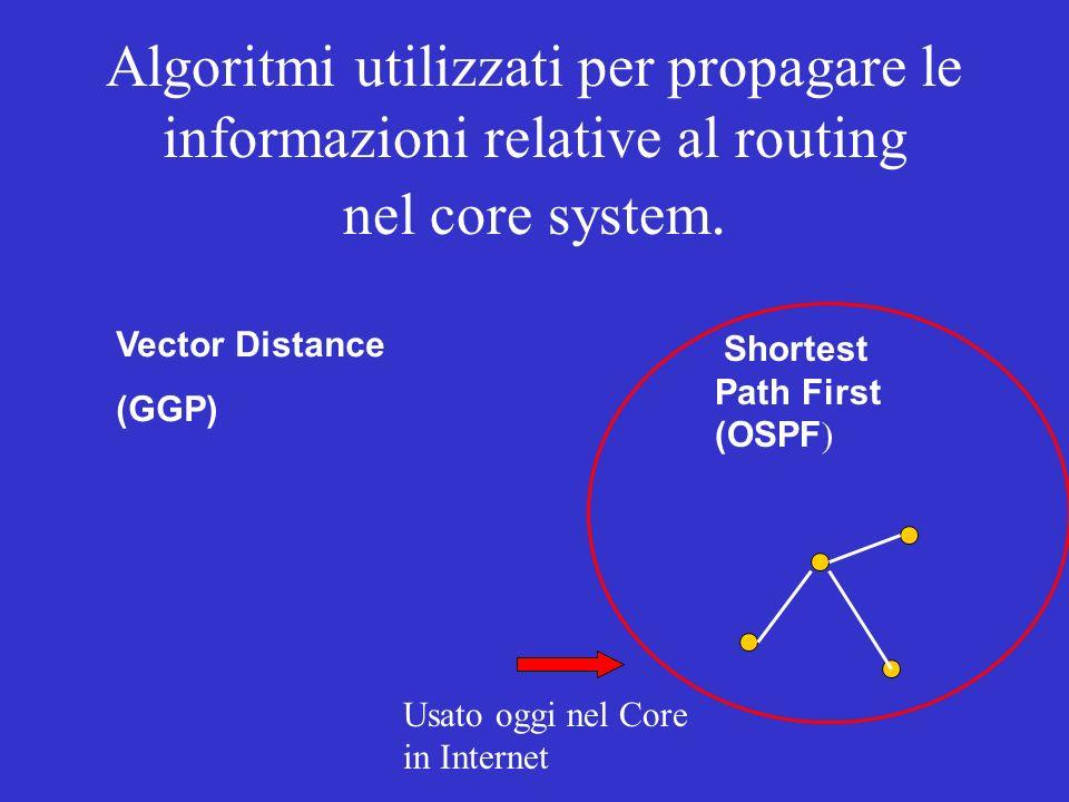 Algoritmi utilizzati per propagare le informazioni relative al routing nel core system. Vector Distance (GGP) Shortest Path First (OSPF ) Usato oggi n