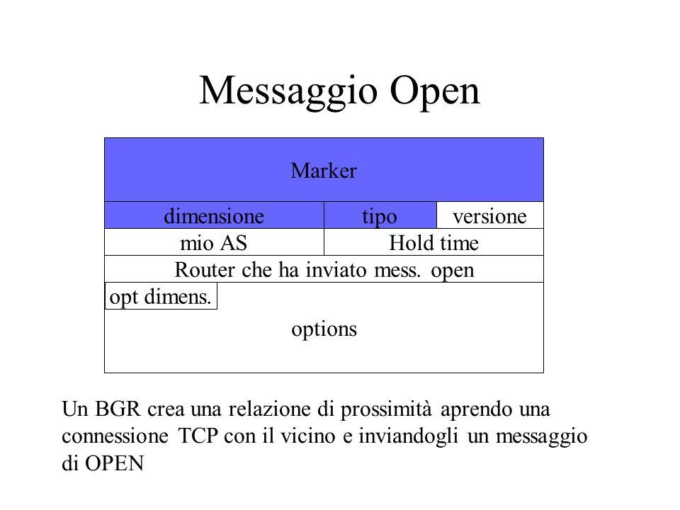 options Messaggio Open Marker dimensionetipoversione mio ASHold time Router che ha inviato mess. open opt dimens. Un BGR crea una relazione di prossim