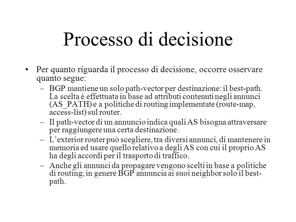 Processo di decisione Per quanto riguarda il processo di decisione, occorre osservare quanto segue: –BGP mantiene un solo path-vector per destinazione