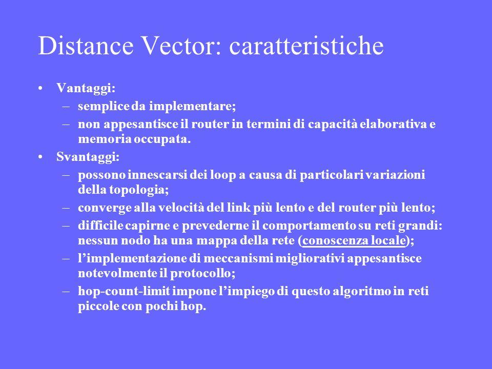 Distance Vector: caratteristiche Vantaggi: –semplice da implementare; –non appesantisce il router in termini di capacità elaborativa e memoria occupat