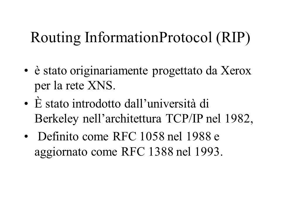 Routing InformationProtocol (RIP) è stato originariamente progettato da Xerox per la rete XNS. È stato introdotto dalluniversità di Berkeley nellarchi