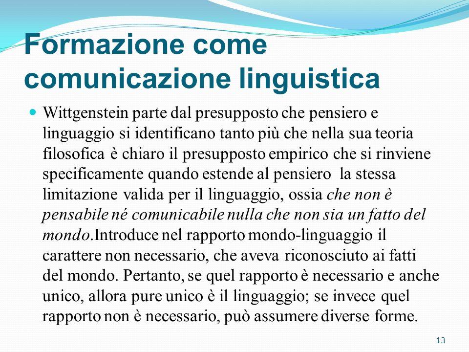 Formazione come comunicazione linguistica Wittgenstein parte dal presupposto che pensiero e linguaggio si identificano tanto più che nella sua teoria