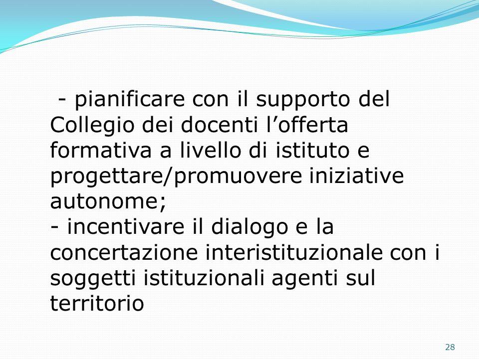 - pianificare con il supporto del Collegio dei docenti lofferta formativa a livello di istituto e progettare/promuovere iniziative autonome; - incenti