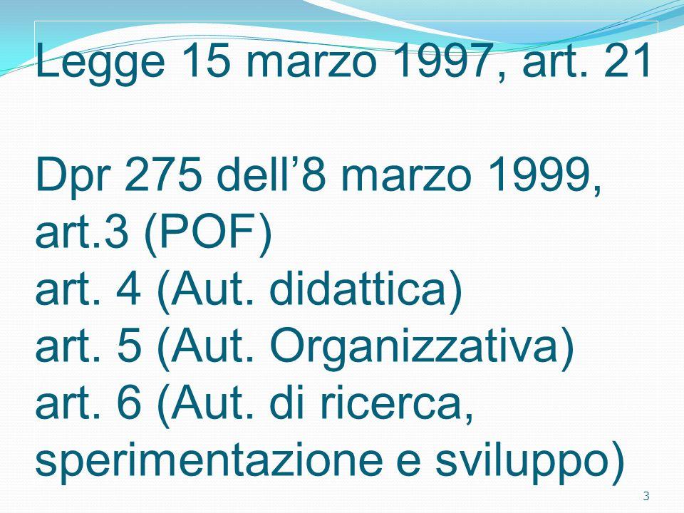 Legge 15 marzo 1997, art. 21 Dpr 275 dell8 marzo 1999, art.3 (POF) art. 4 (Aut. didattica) art. 5 (Aut. Organizzativa) art. 6 (Aut. di ricerca, sperim