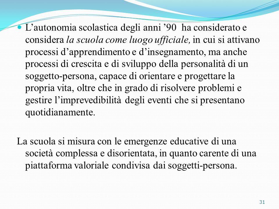 Lautonomia scolastica degli anni 90 ha considerato e considera la scuola come luogo ufficiale, in cui si attivano processi dapprendimento e dinsegname