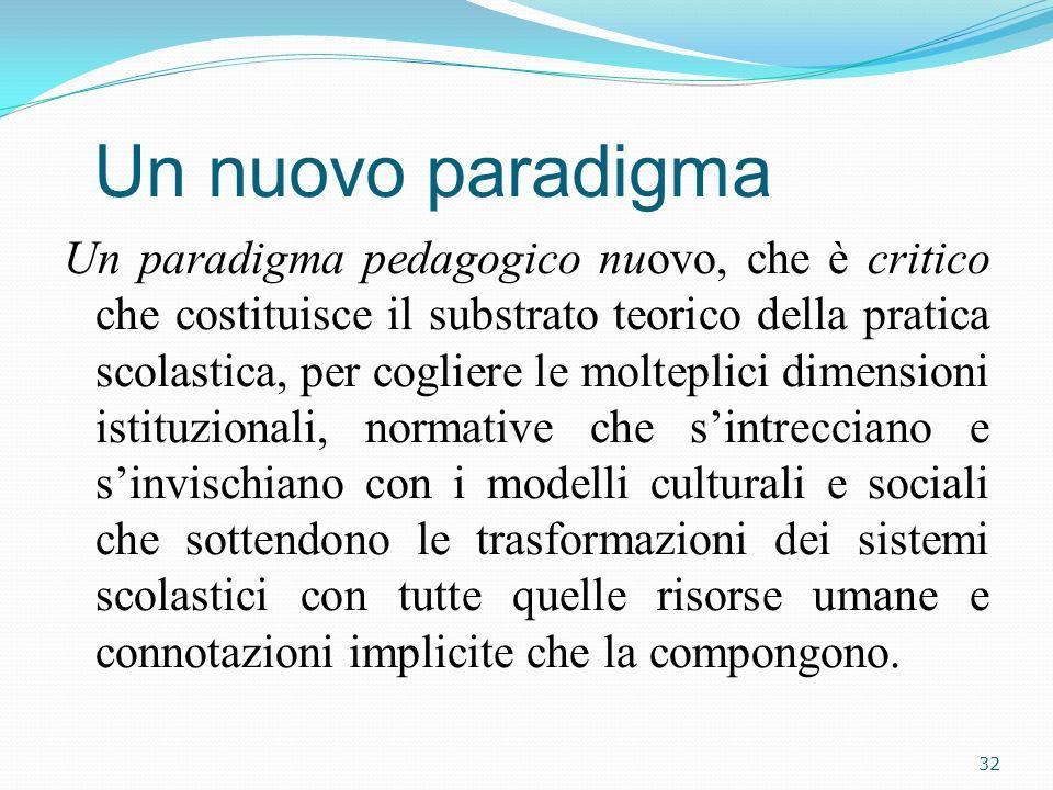 Un nuovo paradigma Un paradigma pedagogico nuovo, che è critico che costituisce il substrato teorico della pratica scolastica, per cogliere le moltepl