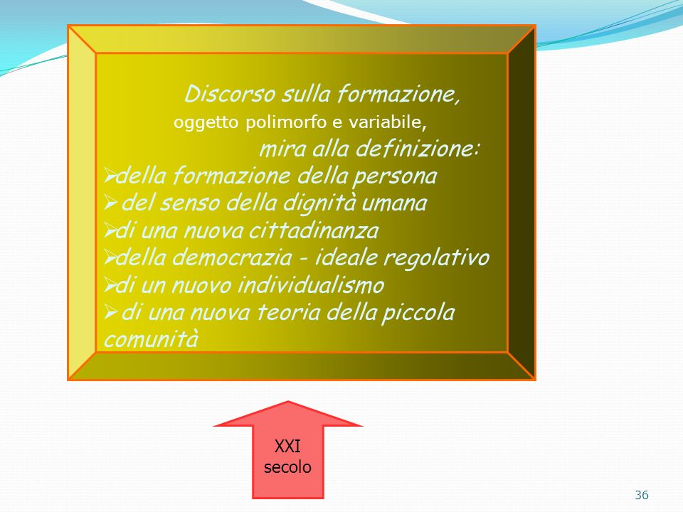 Discorso sulla formazione, oggetto polimorfo e variabile, mira alla definizione: della formazione della persona del senso della dignità umana di una n
