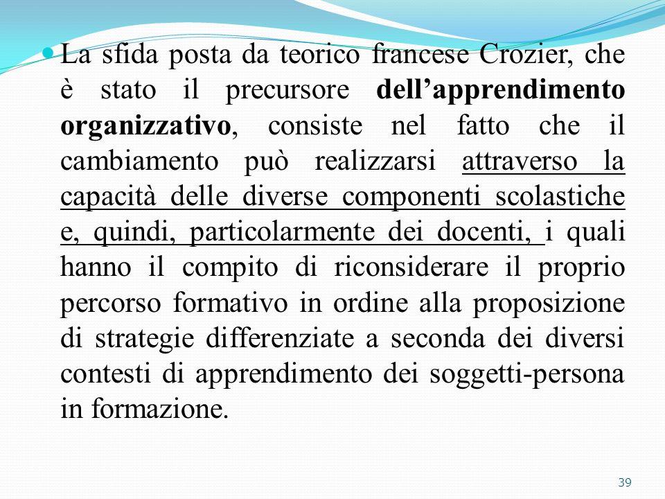 La sfida posta da teorico francese Crozier, che è stato il precursore dellapprendimento organizzativo, consiste nel fatto che il cambiamento può reali