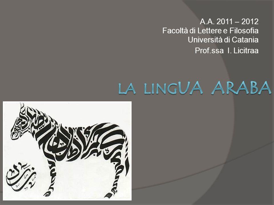 A.A. 2011 – 2012 Facoltà di Lettere e Filosofia Università di Catania Prof.ssa I. Licitraa