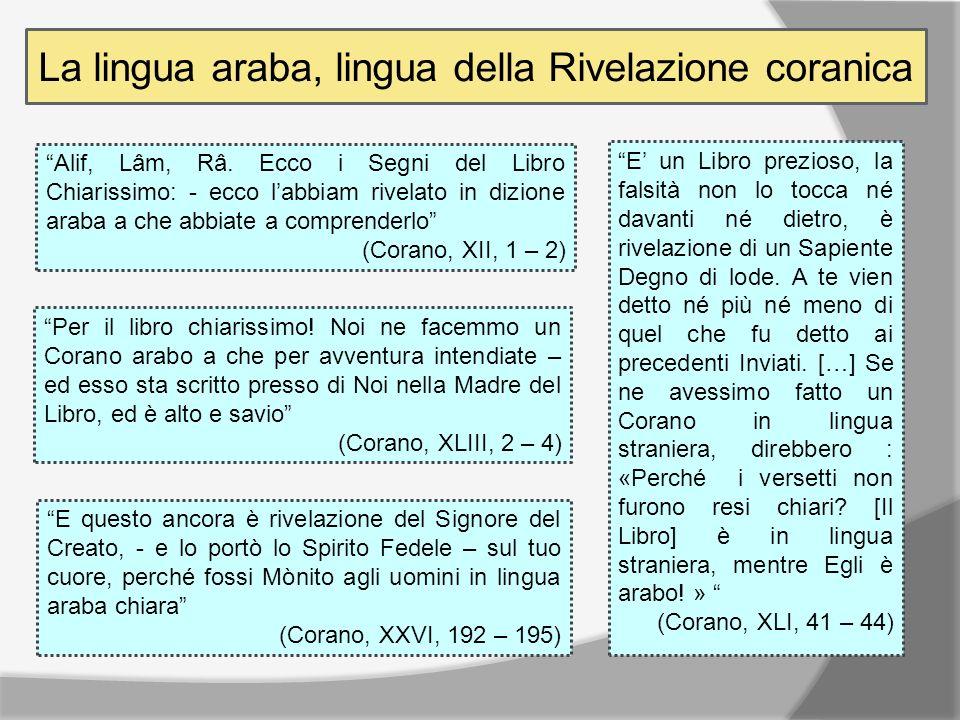 La lingua araba, lingua della Rivelazione coranica Alif, Lâm, Râ.