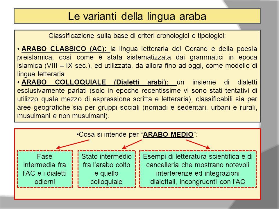 Le varianti della lingua araba Classificazione sulla base di criteri cronologici e tipologici: ARABO CLASSICO (AC): la lingua letteraria del Corano e della poesia preislamica, così come è stata sistematizzata dai grammatici in epoca islamica (VIII – IX sec.), ed utilizzata, da allora fino ad oggi, come modello di lingua letteraria.
