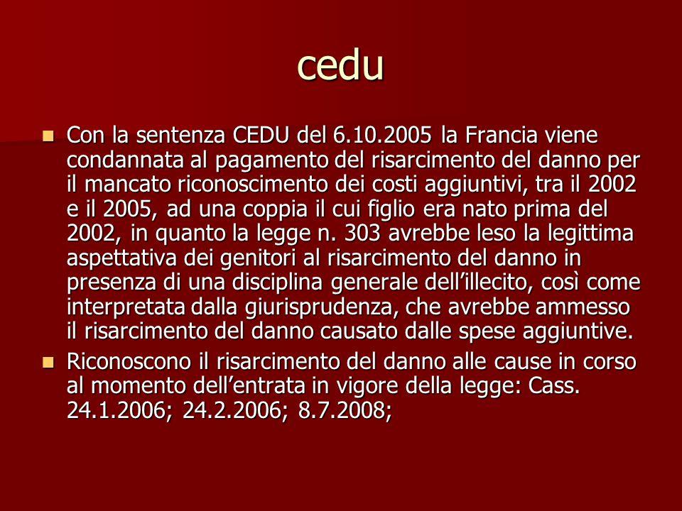 cedu Con la sentenza CEDU del 6.10.2005 la Francia viene condannata al pagamento del risarcimento del danno per il mancato riconoscimento dei costi aggiuntivi, tra il 2002 e il 2005, ad una coppia il cui figlio era nato prima del 2002, in quanto la legge n.