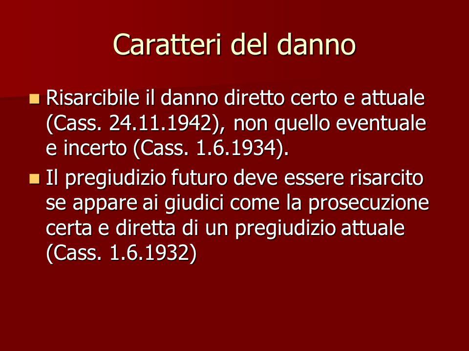 Caratteri del danno Risarcibile il danno diretto certo e attuale (Cass.