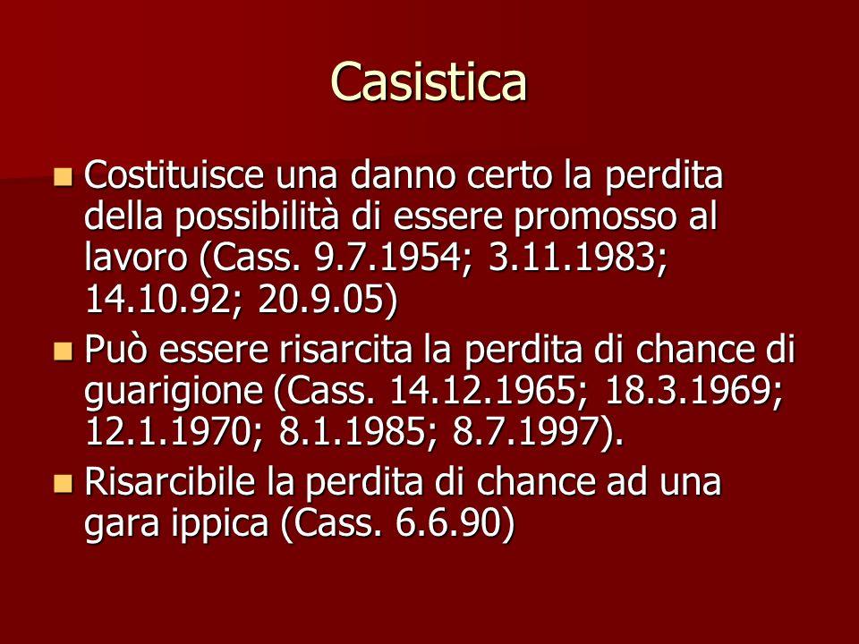Casistica Costituisce una danno certo la perdita della possibilità di essere promosso al lavoro (Cass.