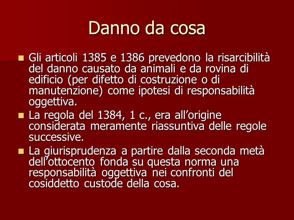 Danno da cosa Gli articoli 1385 e 1386 prevedono la risarcibilità del danno causato da animali e da rovina di edificio (per difetto di costruzione o di manutenzione) come ipotesi di responsabilità oggettiva.