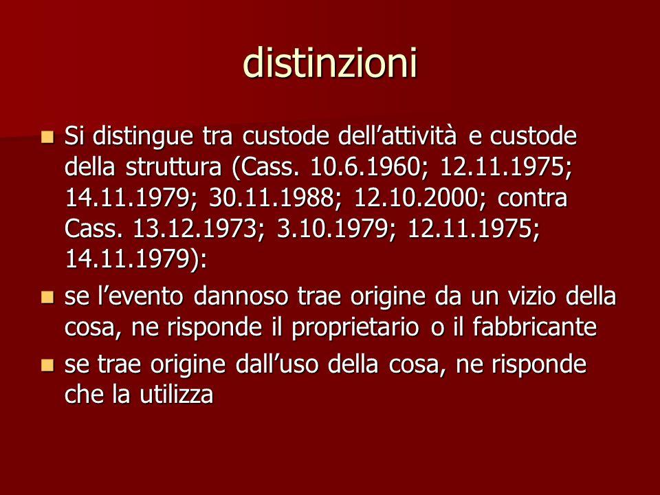 distinzioni Si distingue tra custode dellattività e custode della struttura (Cass.