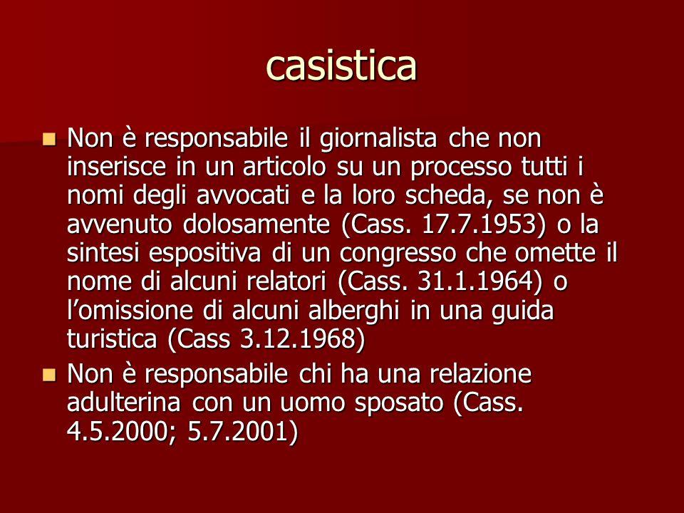 casistica Non è responsabile il giornalista che non inserisce in un articolo su un processo tutti i nomi degli avvocati e la loro scheda, se non è avvenuto dolosamente (Cass.