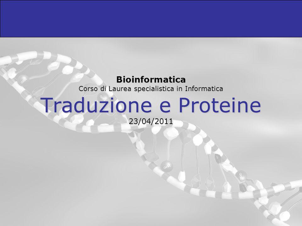 Outline Il flusso dellinformazione genica Le proteine – natura ed informazione Il codice genetico La traduzione (sintesi proteica) Cenni sul folding delle proteine Genotipo e fenotipo Mutazioni e polimorfismi