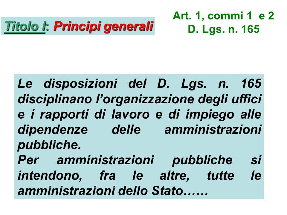 Titolo I: Principi generali Art. 1, commi 1 e 2 D.