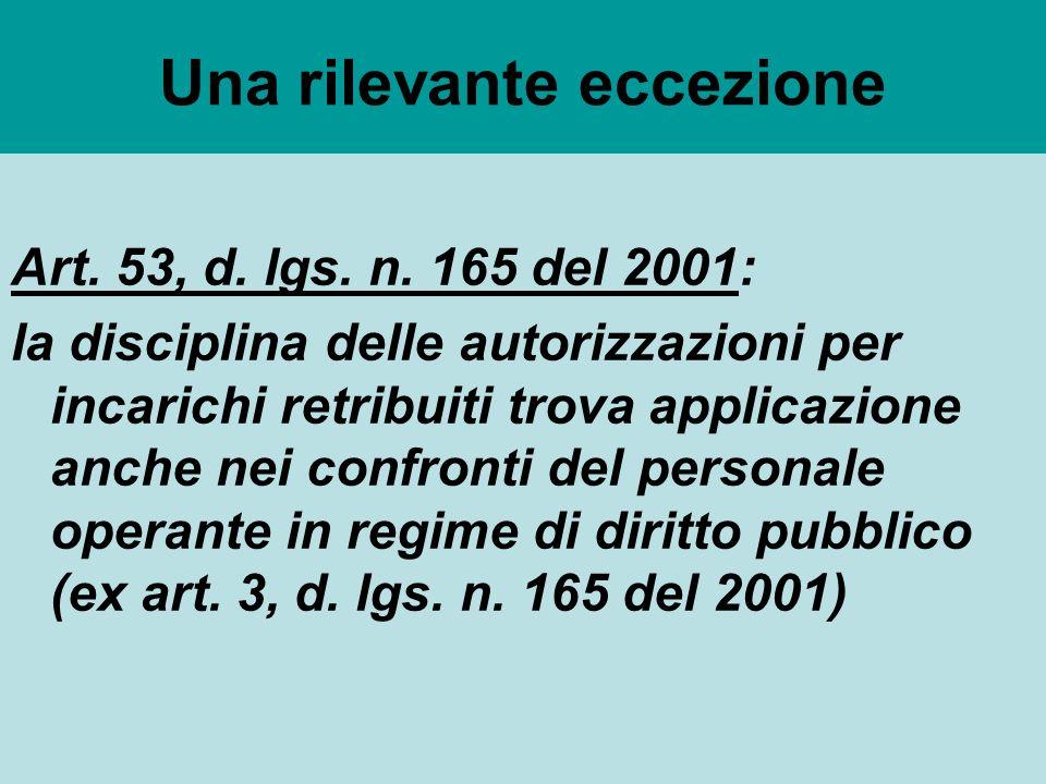 Una rilevante eccezione Art. 53, d. lgs. n.